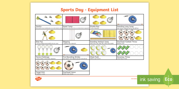 Sports Day Equipment Checklist  Sports Day Ks Pe Physical