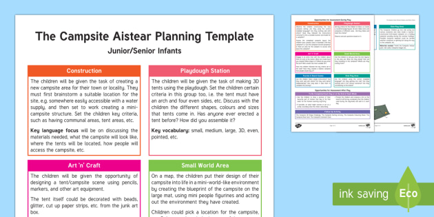 The Campsite Aistear Planning Template - Aistear, Infants, English Oral Language, School, The Garda Station, The Hairdressers, The Airport, T
