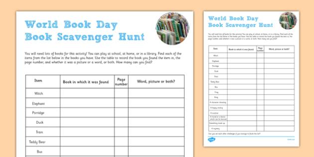 World Book Day Scavenger Hunt Checklist - world book day, scavenger, hunt
