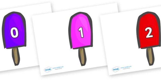 Numbers 0-31 on Ice Lollies - 0-31, foundation stage numeracy, Number recognition, Number flashcards, counting, number frieze, Display numbers, number posters