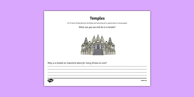 Hinduism Temple Mind Map Activity Sheet - hinduism, temple, mind map, activity, worksheet