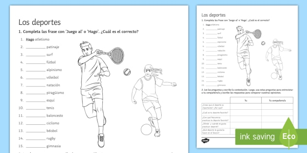 sports worksheet activity sheet spanish spanish vocabulary