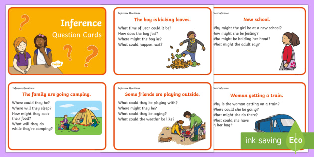 Inference Picture and Question Cards - Inference, questions, talking, comprehension, predictions, speech and language, communication, SEN,