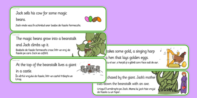 Jack and the Beanstalk Story Sequencing Cut and Stick Activity Romanian Translation - Jack, beanstalk, giant, traditional, tales, fairy, tale, story, storybook, Romanian, EAL, new starter, sequence, order, bilingual