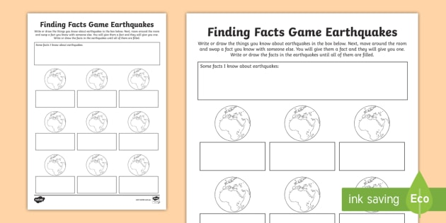 Earthquake Finding Facts Worksheet - ACSSU096, earthquakes, plate ...