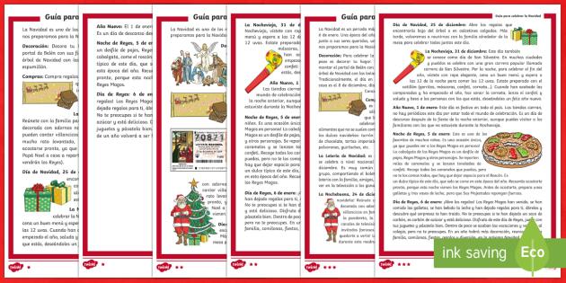 Comprensión lectora de atención a la diversidad: Guía para celebrar la Navidad - Christmas Spain, Navidad, navidades, reyes, festividades, lectura, comprensión lectora, celebrar.,S