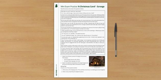 Mini Exam Practice A Christmas Carol Gcse Scrooge