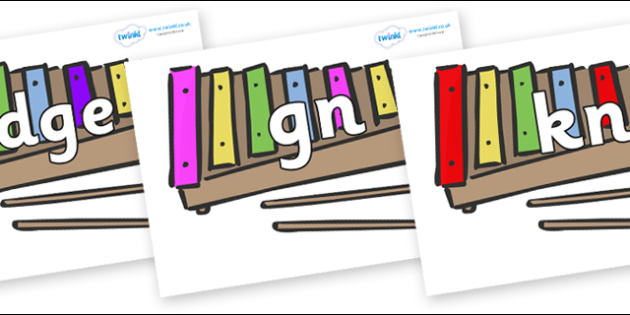 Silent Letters on Glockenspiels - Silent Letters, silent letter, letter blend, consonant, consonants, digraph, trigraph, A-Z letters, literacy, alphabet, letters, alternative sounds