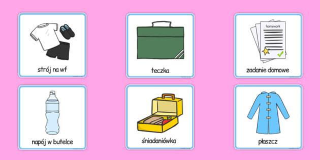 Karty Czynności poniedziałkowe po polsku - do szkoły,  wyjście