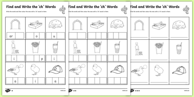 Find and Write the 'Ch' Words Differentiated Worksheets - Twinkl