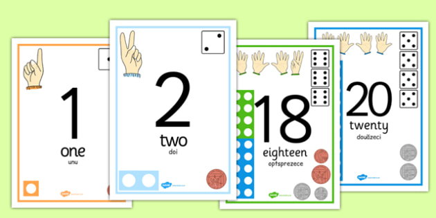 Visual Numberline Posters 0-20 Romanian Translation - romanian, count, counting, counting aid