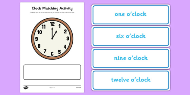 Clock Matching Activity - clock, matching, activity, match, time