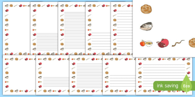 Rosh Hashanah Symbols Themed Page Border Pack