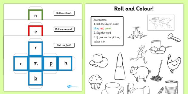 CVC Words Roll and Colour Activity - cvc, words, roll, colour