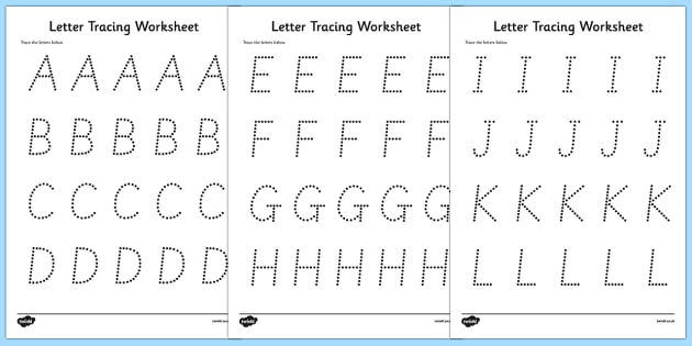 Letters Numbers and Shapes Tracing Worksheet - fine motor skills