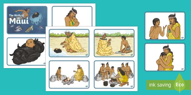 The Birth of Māui Story Sequencing Cards - Māui Myths Maori legends, legends, new zealand, maori