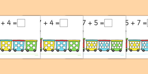 Number Trains - Counting, objects, bridging through 10 and 20