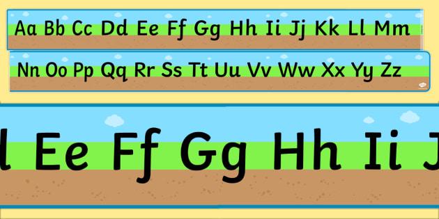 Ground, Grass, Sky Upper and Lowercase Alphabet Strip - australia, alphabet, ground, grass, sky, strip