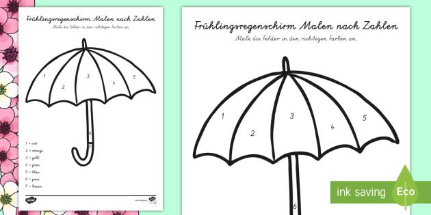 Frühlingsregenschirm Malen nach Zahlen - Regenschirm