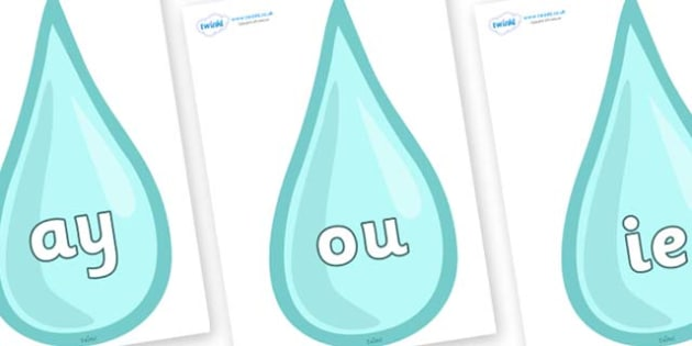 Phase 5 Phonemes on Water Drops - Phonemes, phoneme, Phase 5, Phase five, Foundation, Literacy, Letters and Sounds, DfES, display