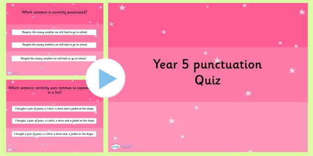 Year 5 Punctuation PowerPoint Quiz - year 5, punctuation, quiz