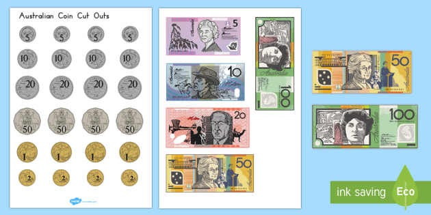 Toy Money Cut Outs : Coins and notes cut outs resource pack australian currency