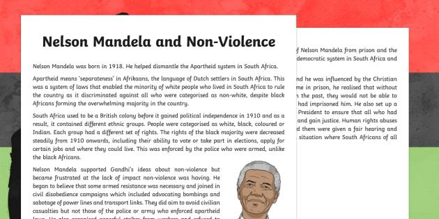Nelson Mandela and Non-Violence Information Sheet
