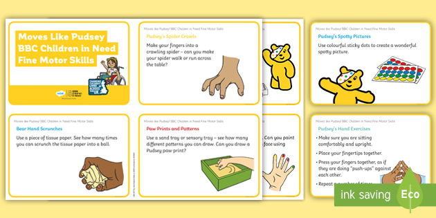 Moves like Pudsey! Fine Motor Skills Challenge Cards