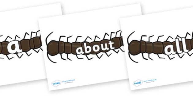 100 High Frequency Words on Centipedes - High frequency words, hfw, DfES Letters and Sounds, Letters and Sounds, display words