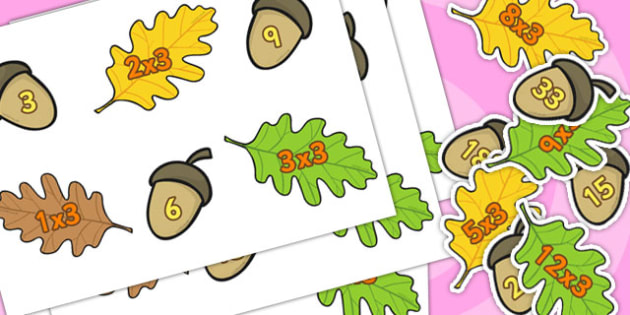 Acorn Times Tables Matching Activity x3 - acorn, times table, cards, multiply
