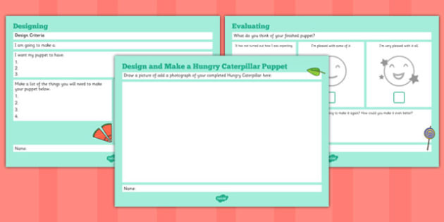 Design and Make a Very Hungry Caterpillar Puppet Booklet to Support Teaching on The Very Hungry Caterpillar - puppet