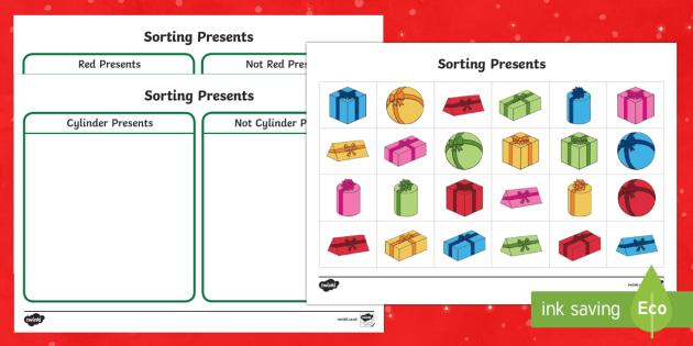 Christmas Present Sorting Activity Sheets