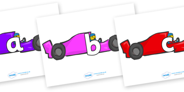 Phoneme Set on Racing Cars - Phoneme set, phonemes, phoneme, Letters and Sounds, DfES, display, Phase 1, Phase 2, Phase 3, Phase 5, Foundation, Literacy