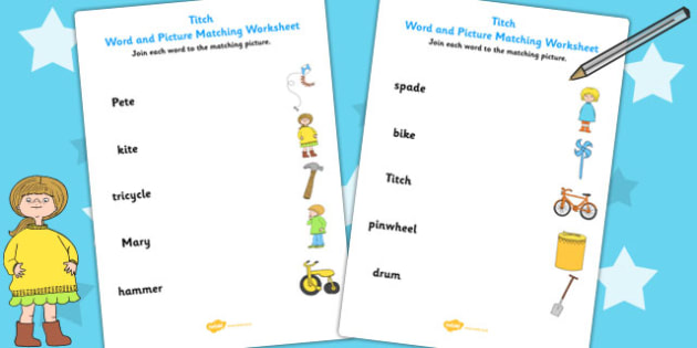 Word and Picture Match to Support Teaching on Titch - story books, stories, matching