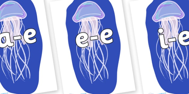 Modifying E Letters on Jellyfish - Modifying E, letters, modify, Phase 5, Phase five, alternative spellings for phonemes, DfES letters and Sounds