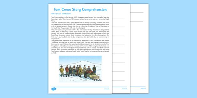 Tom Crean Reading Comprehension Activity - Tom Crean, Irish History, South Pole, Antarctica, comprehension, story, questions, worksheet