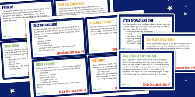 Space Themed Literacy Challenge Cards KS2 - space, literacy
