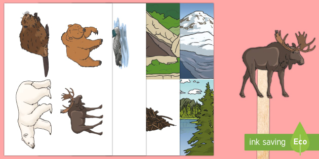 Canadian Animal Stick Puppets - Uniquely Canadian, Canadian animals, role play