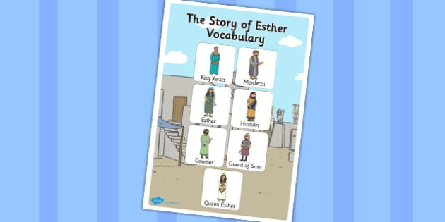 The Story of Esther Bible Story Vocabulary Poster - posters