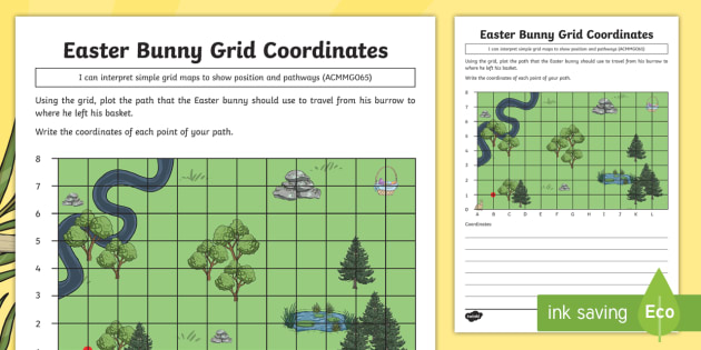 year 3 easter bunny grid coordinates worksheet activity sheet. Black Bedroom Furniture Sets. Home Design Ideas