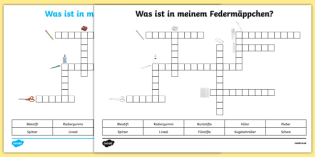 Items In My Pencil Case German Crossword Worksheet