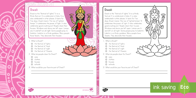 First Grade Diwali Reading Passage Comprehension Activity
