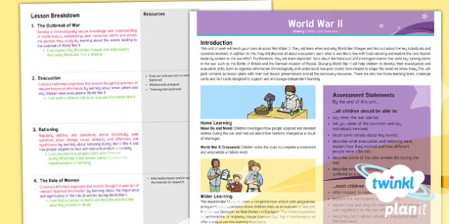 History: World War II UKS2 Planning Overview