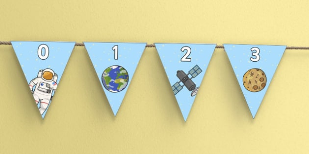 Space Themed 0-20 Number Line Bunting - space, themed, 0-20, number line, display, bunting