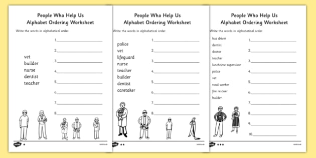 People Who Help Us Differentiated Alphabet Ordering Worksheet