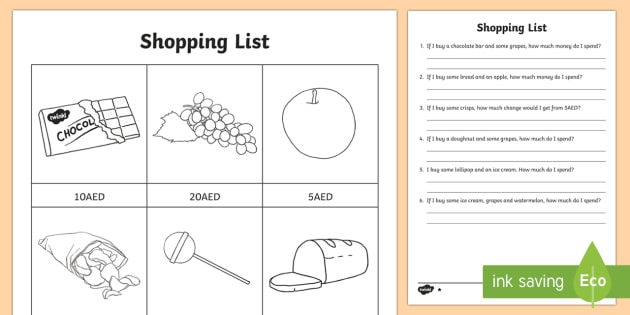shopping list aed differentiated worksheet activity sheets uae maths. Black Bedroom Furniture Sets. Home Design Ideas