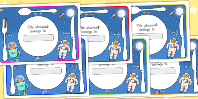 Space Themed Placemats - australia, space, placemats, mats, font
