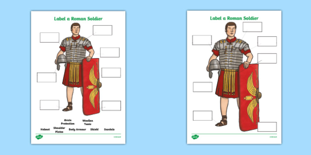 Label a Roman Soldier Worksheet - label a roman soldier, romans, roman soldier, worksheet, roman worksheet, themed worksheet, history, history worksheet