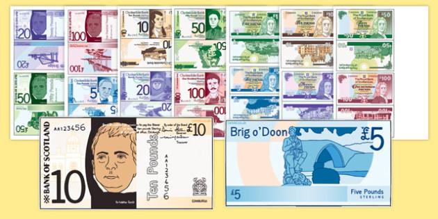 Scottish Money Cut Outs - scottish money, scottish, money, scotland, cut outs, activity, maths, numeracy