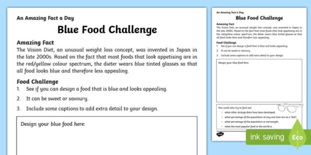 Blue Food Challenge Activity Sheet, worksheet